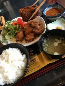 メカジキのアゴ唐定食(カレー味)